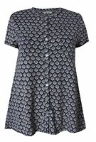 B02 New White Stuff size 6 Purple Leaf Floral Cotton Loose Fit Blouse Top Shirt