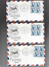 US FDC  FIRST DAY COVER # C48 AIR MAIL 1954 SET OF 4 PLATE BLOCKS FLEETWOOD