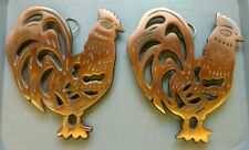 Lot of 3 Cast Iron Trivets Copper Pig (1) Chickens (2)