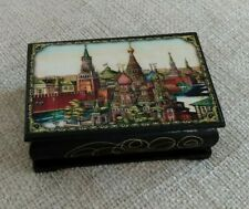 VINTAGE RUSSIAN LACQUERED WOOD TRINKET BOX RED SQUARE MOSCOW