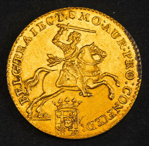 "1761, Netherlands, Utrecht. Gold 14 Gulden ""Golden Rider"" Coin. (XF-) 9.91gm!"