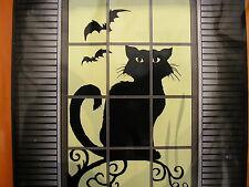 "halloween window silhouette decoration   30"" x 48"" black cat"