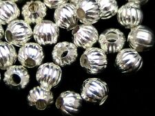 40 x 6mm Silver Plated Melon Spacer Beads Craft E28