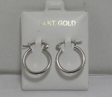 """16mm 5/8"""" Polished Hoop Earrings Real 14K White Gold HIGH QUALITY GIFT"""