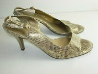 WOMENS GOLD BRONZE LEATHER SLINGBACK SANDALS CAREER HIGH HEELS SHOES SIZE 7.5 M
