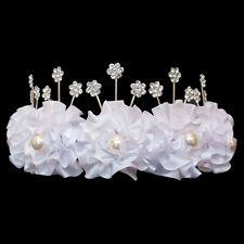 Diadème Couronne de FLEURS Mariage Mariée Satin Perles et Cristal Blanc