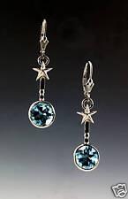Lone Star Cut Blue Topaz 14k White Gold Earrings