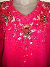 Ustion Sweater Top Bright Fuschia Sequin Beaded Embroidered Floral Holiday Party