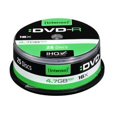 INTENSO DVD-R RECORDABLE DISCS 25 PACK SPINDLE CAKE / 16X SPEED / 4.7GB DATA