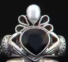 Nicky Butler Black Onyx and Pearl  'Claddagh Crown' Ring Size 8