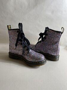 DR. MARTENS 1460 Chunky Farrah Silver Glitter Girls Boots Size 7