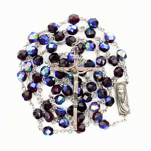 Garnet Red Multifaceted Carnival Glass Rosary Italy Beads Iridescent Mary Jesus