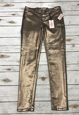 Juicy Couture Women's Skinny Jeggings Coated Metallic Rose Gold Pull On Sz 2