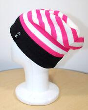 Womens Bula Striped Slouch Beanie Ski Snowboard Hat Pink/White/Black
