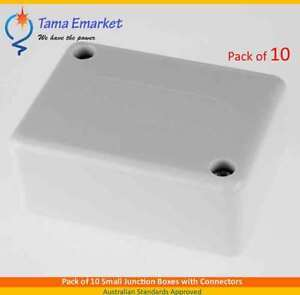 10 x Small Junction Boxes with Connectors for Electrical Cable Connections