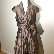 Adrianna Papell Womens Size 10 Slik Blend Cap Sleeve A Line Career Dress Brown