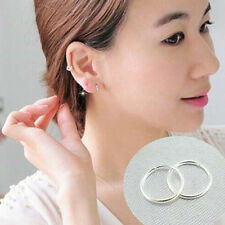 New Lady Women Ear Studs Tiny Smooth Silver Round Hoop Earrings Girls Jewelry