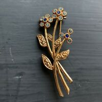 Movitex Signed Vintage Brooch Forget Me Knot Flower Gold Tone Blue Stones Dainty