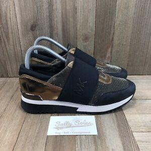 Michael Kors Womens Felix Trainer Black/Gold Fashion Sneaker Size 7