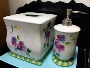"""Vintage Porcelain Floral Tissue Cover And Soap/Lotion Dispenser Box 6"""" Tall"""