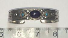 Silver Color Metal Bracelet Filigree Dark Amethyst Stone & Etched Dragon Inside!