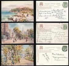 ISLE of WIGHT TUCKS OILETTE 7571 RYDE ARTIST WIMBUSH POSTALLY USED 3 DIFFERENT