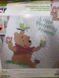 "Janlynn Disney Pooh "" Fluttering Friends"" Baby Quilt Stamped  Cross Stitch Kit-"
