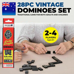 NEW 28Pc Original Classic Wooden Box Dominoes Set Traditional Indoor Family Game