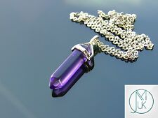 Purple Glass Point Pendant Manmade Gemstone Necklace with Chain