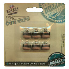 6 Screw-on Fat Cat Pool Cue Tips 12mm and 13mm in Hang-sell Clam