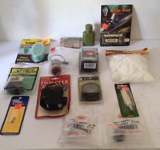 BOX LOT 11 HUNTING ITEMS ACCRA SHOT, LEAF SCENT LENS COVER ANTIFOG BORE SWAB ETC
