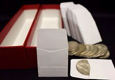 100 2x2 Paper Coin Stamp Envelope GUARDHOUSE Archival + Red Storage Box 9x2x2