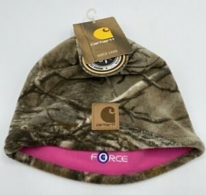 Carhartt Force Reversible Camo Realtree And Pink Youth Girl Fleece Beanie Hat