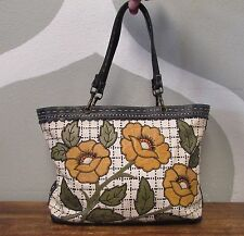 ISABELLA FIORE Black White Woven Floral Leather Detail Shoulder Bag