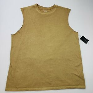 NEW No Boundaries Large 42-44 Mens Sleeveless Shirt Muscle Tank Gold Yellow