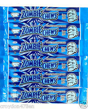 25 x 28g Zombie Chews Sour Blue Raspberry Flavour Lollies