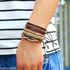 HC 4PCs/Set Retro Brown Multilayer Wood Beads Leather Bracelet Bangle Wristband