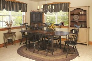 Solid Oak Dining Room 10 Piece set and Hutch chairs and Table Pads