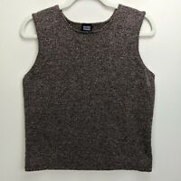 Eileen Fisher Large Knit Sleeveless Top Brown Wool Blend Shell Nubby Tank