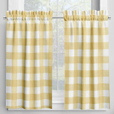 Carolina Linens Tailored Tier Curtains in Anderson Brazilian Yellow Buffalo