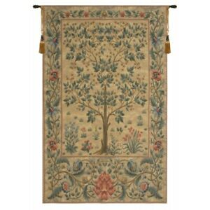 """Tree of Life Beige III Tapestry Wall Hanging H 56"""" x W 35"""""""