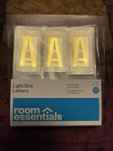 Room Essentials LED Light Box Letters Metallic Gold Plastic Letters 100 Count