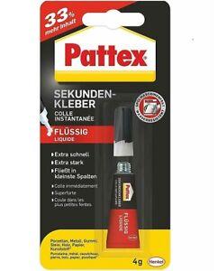 Pattex Sekundenkleber flüssig +33% mehr Inhalt 4g Kunststoff Papier Gummi