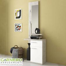 Mobile ingresso JIMMY bianco cemento moderno anta cassetto ripiani specchio