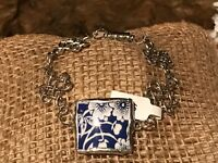 Recycled Porcelain & Metal Jewelry, English Collection, Blue Chintz Bracelet