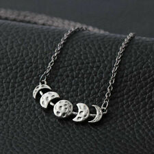 Vintage Womens Silver Lunar Eclipse Moon Phase Pendant Necklace Jewelry Gift