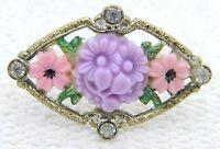 VTG Gold Tone Floral Filigree Pink Purple Celluloid Flower Rhinestone Pin Brooch