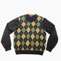 Brooks Brothers Women's Merino Wool V-Neck Sweater Brown Argyle Sz XL