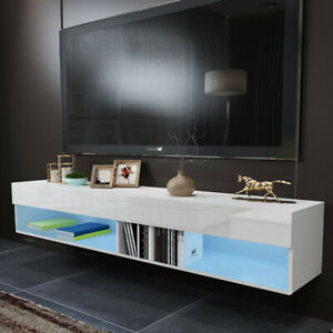 """70.9"""" TV Stand Unit Wall Cabinet High Gloss Entertainment Center w/LED Shelves"""