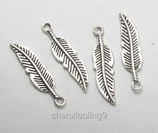 50pcs Tibetan Silver Feather Leaves Vintage Double sided Charms Pendants  30x8mm
